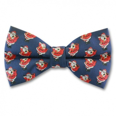 Blue Ready Tied Bow Tie With Jolly Father Christmas